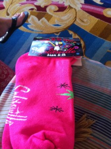 I'm not a big fan of bowling but they gave us these snazzy socks!
