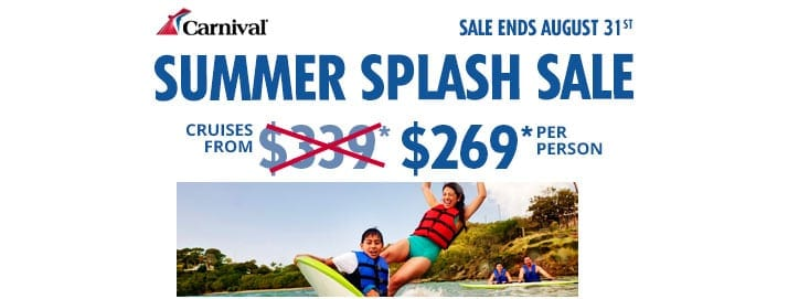 Offer from Carnival Cruise Line. Cruises from $269 per person