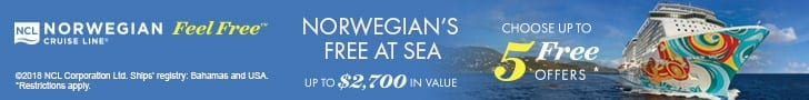 Free at Sea Offer from NCL. Choose up to 5 free offers!