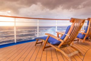 Chairs on the top of a cruise deck