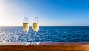 champagne glasses on symphony of the seas deck